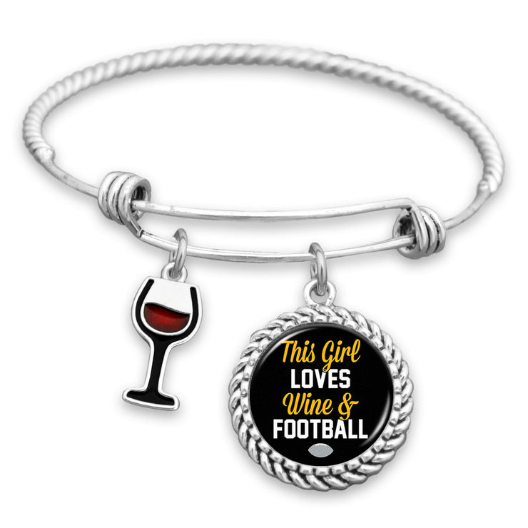 This Girl Loves Wine And Football Pittsburgh Charm Bracelet