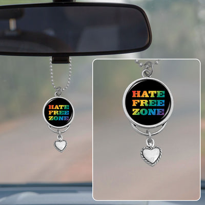 Hate Free Zone Rearview Mirror Charm