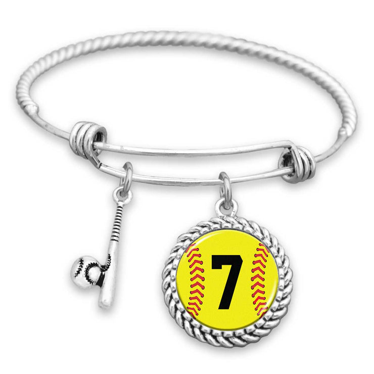 Softball Personalized Number Charm Bracelet