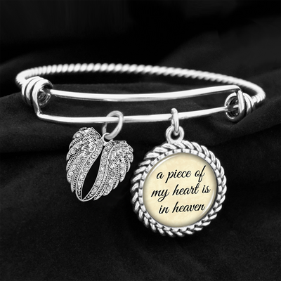 Piece Of My Heart Is In Heaven Angel Wings Charm Bracelet