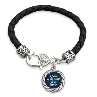 A Piece Of My Heart Is In Heaven Night Sky Leather Toggle Bracelet