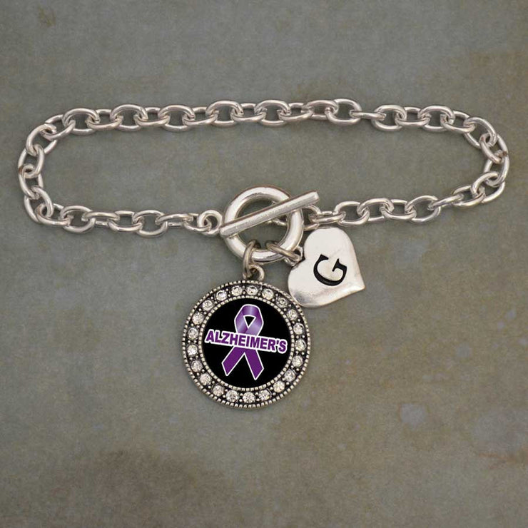 Alzheimer's Awareness Custom Initial Bracelet