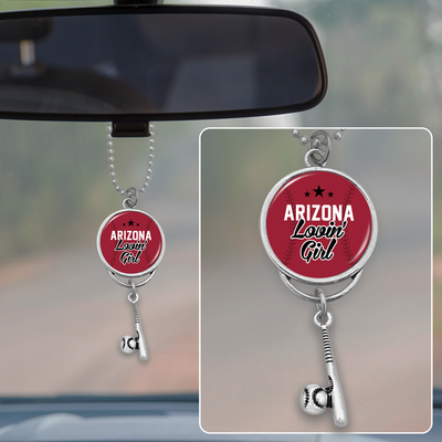 Arizona Lovin' Girl Baseball Rearview Mirror Charm