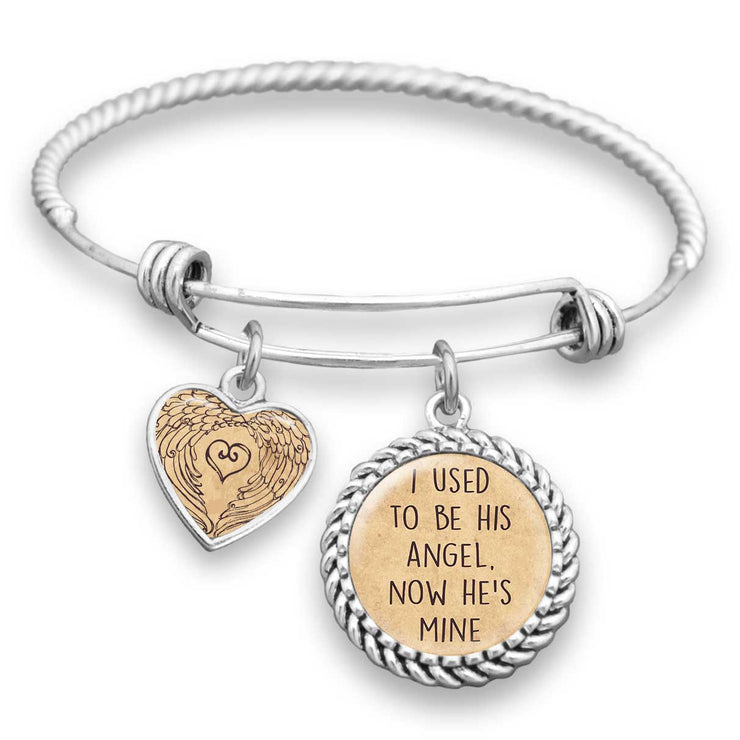 I Used To Be His Angel, Now He's Mine Charm Bracelet