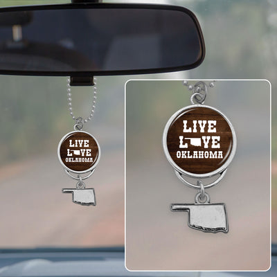 Live Love Oklahoma Rearview Mirror Charm