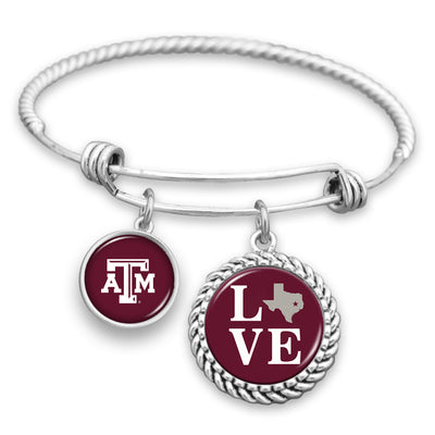 Texas A&M Aggies Love Charm Bracelet