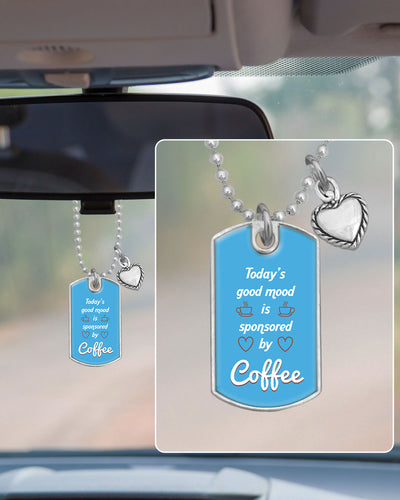 Sponsored By Coffee Dog Tag Rearview Mirror Charm