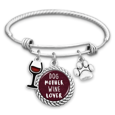 Dog Mother Wine Lover Charm Bracelet