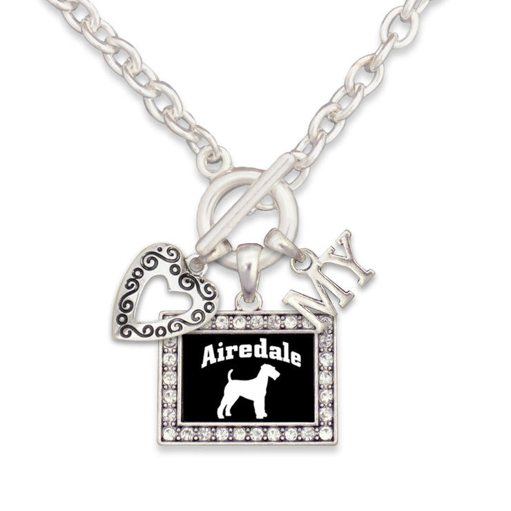 Airedale Dog 3 Charm Necklace