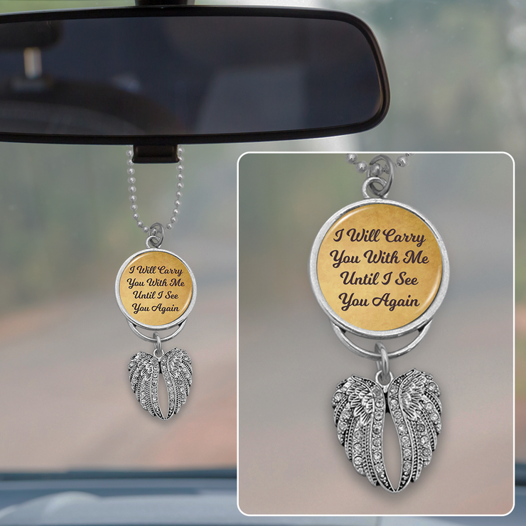 Carry You With Me Angel Wings Rearview Mirror Charm