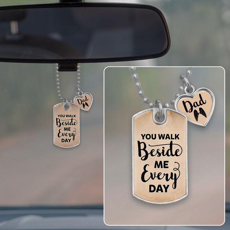 Walk Beside Me Dad Dog Tag Rearview Mirror Charm