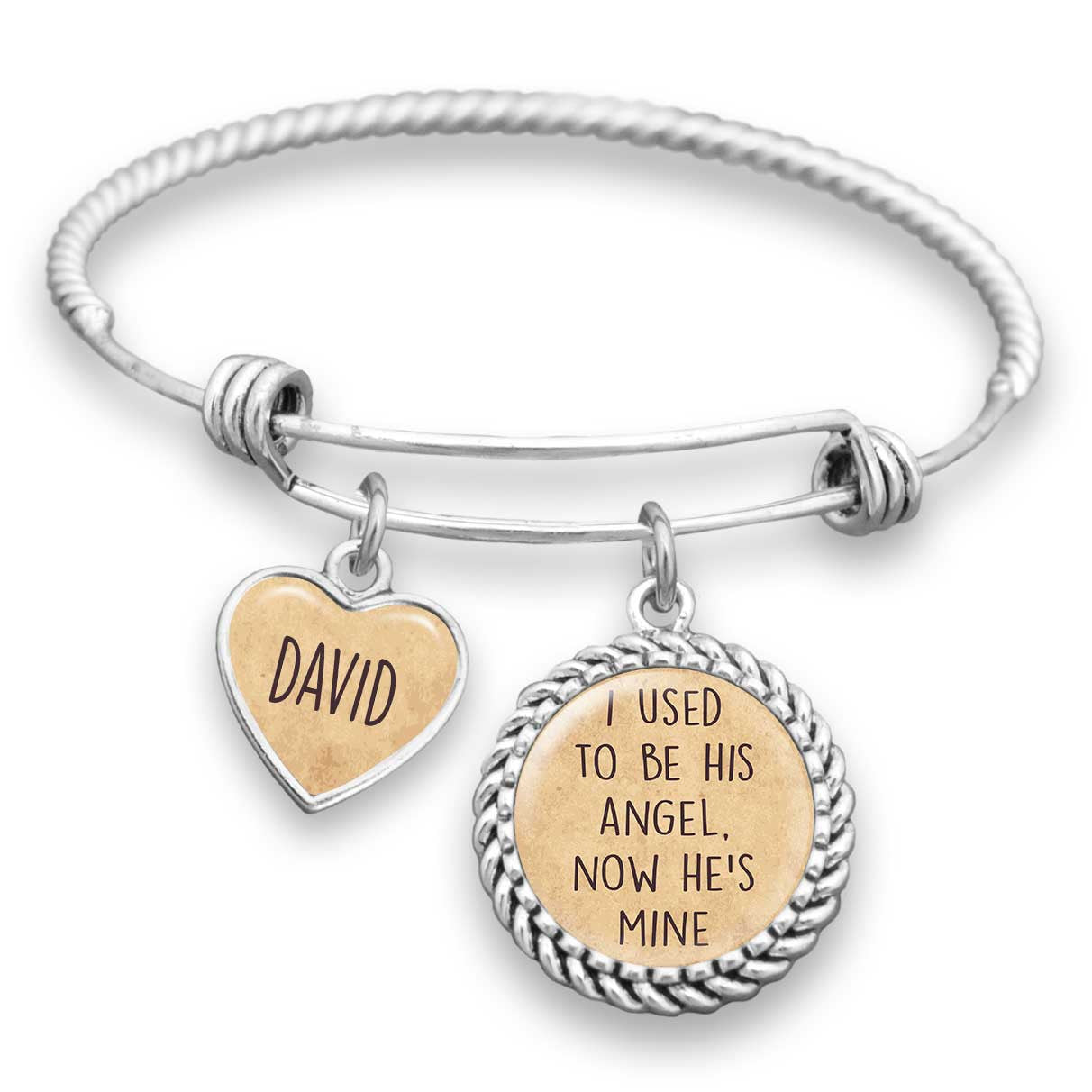 Personalized I Used To Be His Angel, Now He's Mine Bracelet