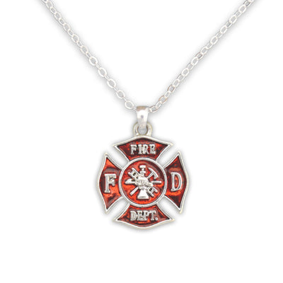 Firefighter Badge Charm Necklace