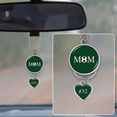 Customizable Number Soccer Mom Rearview Mirror Charm