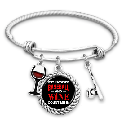 If It Involves Baseball And Wine, Count Me In Charm Bracelet