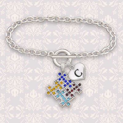 Autism Awareness Custom Initial Bracelet