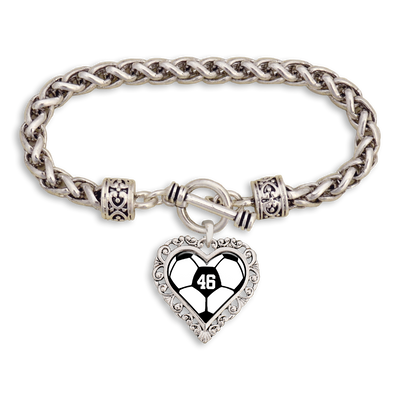 Customizable Number Heart Soccer Ball Clasp Bracelet