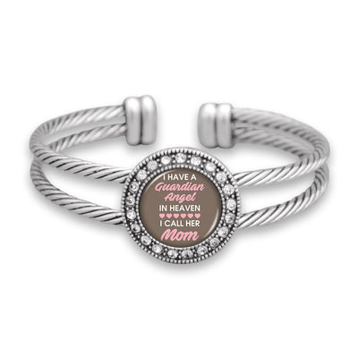 Guardian Angel In Heaven Mom Crystal Cuff Bracelet