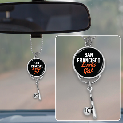 San Francisco Lovin' Girl Baseball Rearview Mirror Charm