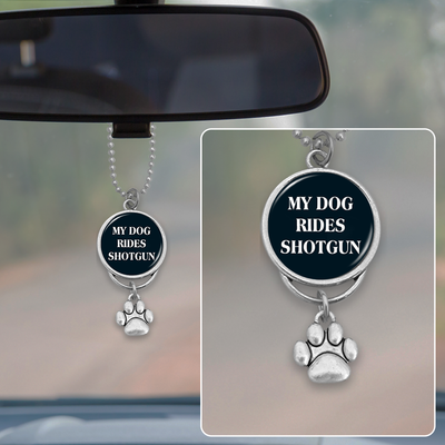 Dog Rides Shotgun Rearview Mirror Charm