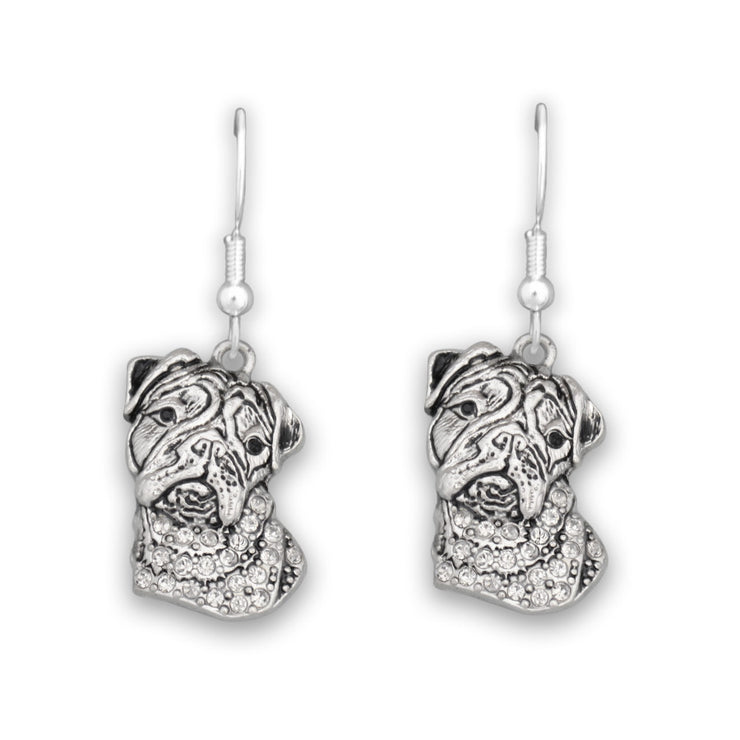 Bulldog Dog Charm Earrings