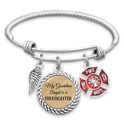 My Guardian Angel Is A Firefighter Charm Bracelet