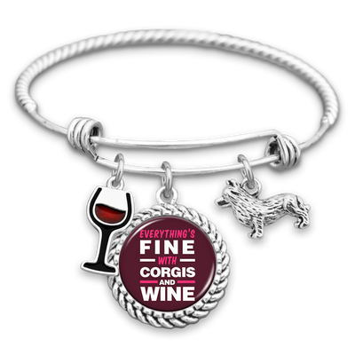 Everything's Fine With Corgis And Wine Charm Bracelet