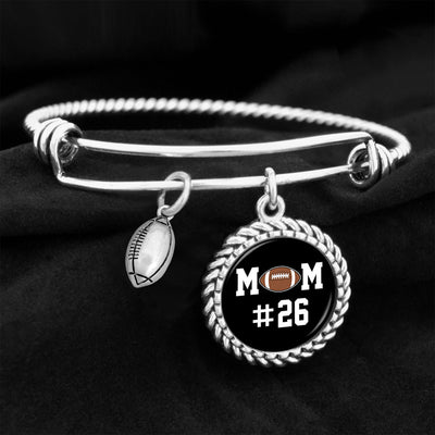 Sports Mom Personalized Number Football Charm Bracelet
