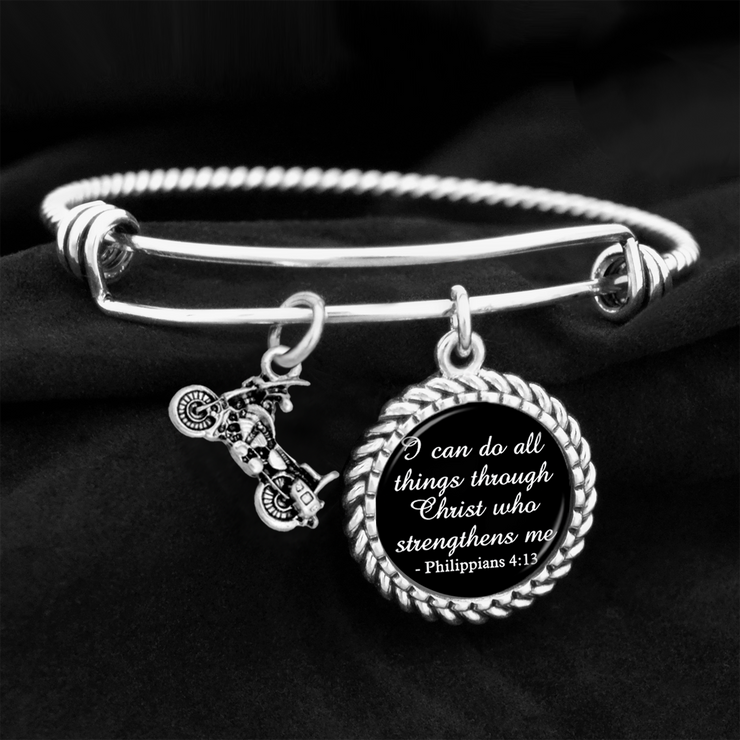 Motorcycle I Can Do All Things Through Christ Who Strengthens Me Charm Bracelet