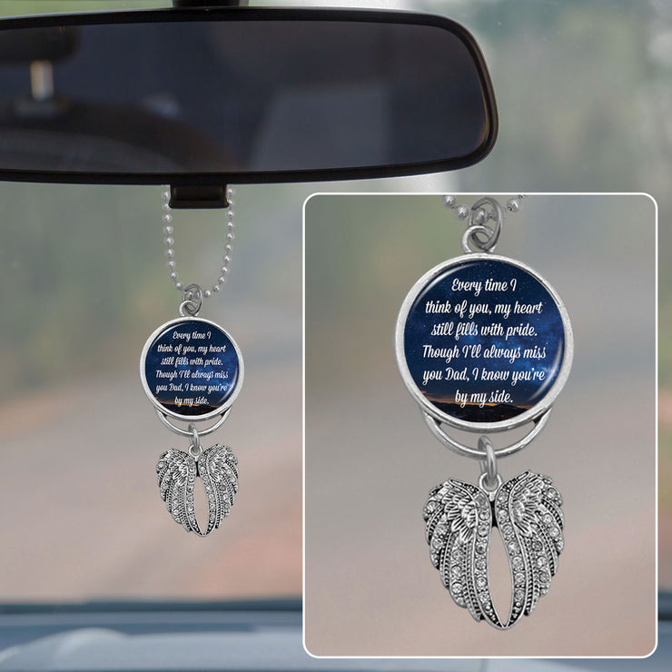 Dad Every Time I Think Of You Rearview Mirror Charm
