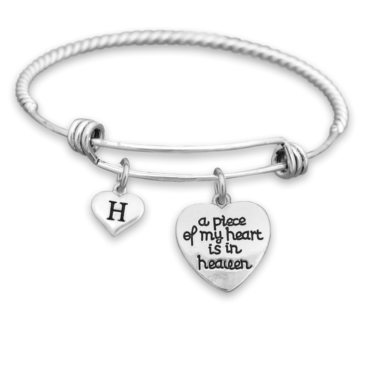 Engraved Piece Of My Heart Customizable Heart Letter Charm Bracelet