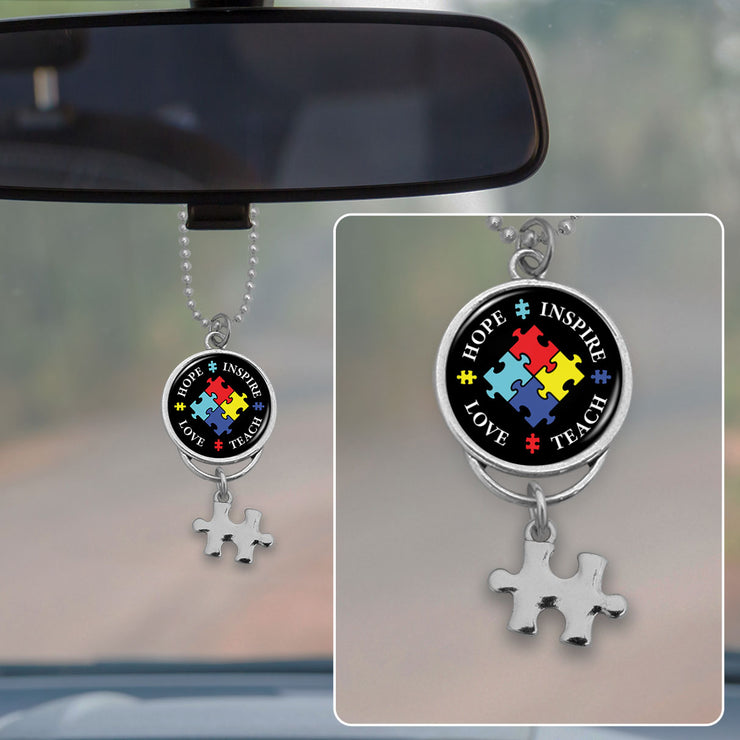 Hope Love Inspire Teach Autism Awareness Rearview Mirror Charm