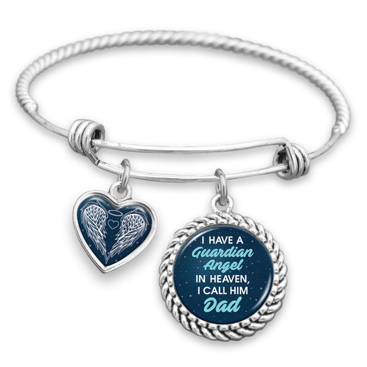 I Have A Guardian Angel In Heaven And I Call Him Dad Night Sky Charm Bracelet
