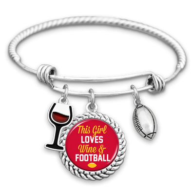 This Girl Loves Wine And Kansas City Football Charm Bracelet