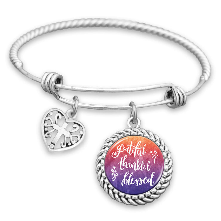 Grateful, Thankful, Blessed Charm Bracelet