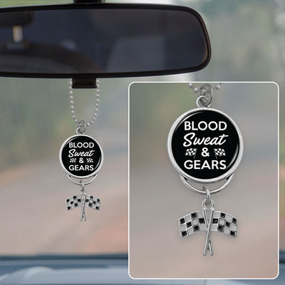 Blood Sweat And Gears Rearview Mirror Charm