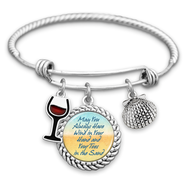 May You Always Have Wine In Your Hand And Your Toes In The Sand Charm Bracelet