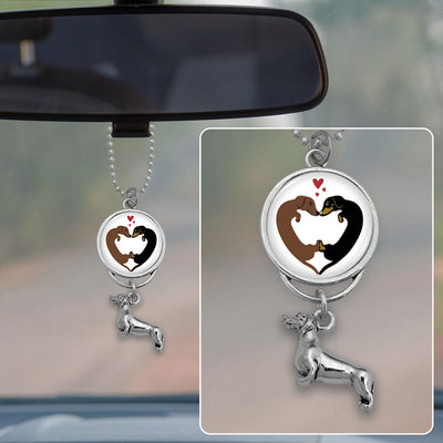 Heart Dachshunds Rearview Mirror Charm