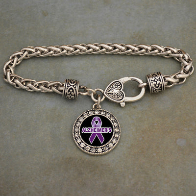 Alzheimer's Awareness Crystal Clasp Bracelet