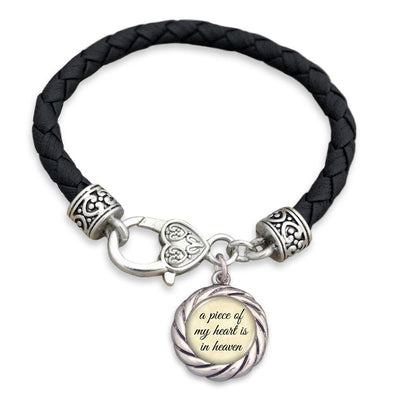 A Piece Of My Heart Is In Heaven Leather Toggle Bracelet