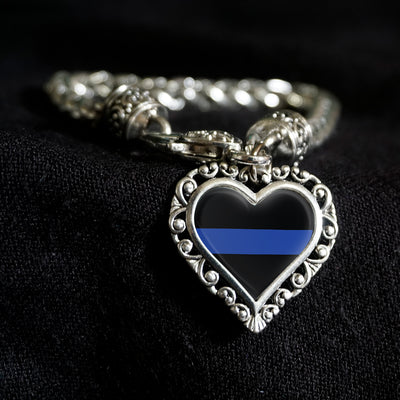 Thin Blue Support Line Heart Clasp Bracelet