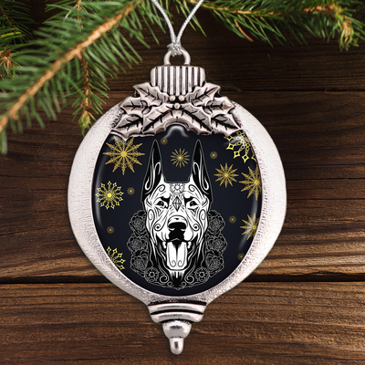 Doberman Sugar Skull Bulb Ornament