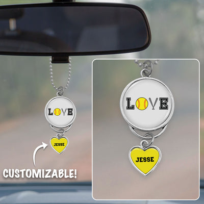 Customizable Softball LOVE Icons Rearview Mirror Charm