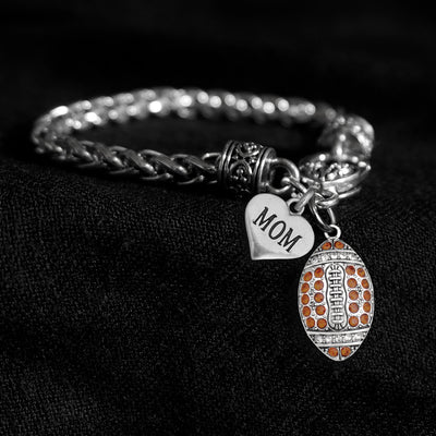 Mom Heart and Crystal Football Silver Braided Clasp Charm Bracelet