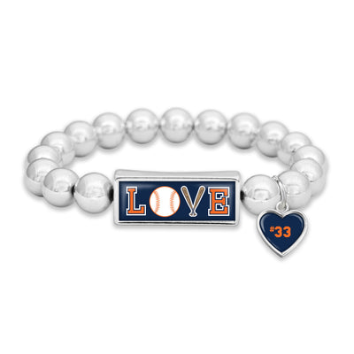 Customizable Detroit Baseball LOVE Icons Silver Bead Bracelet