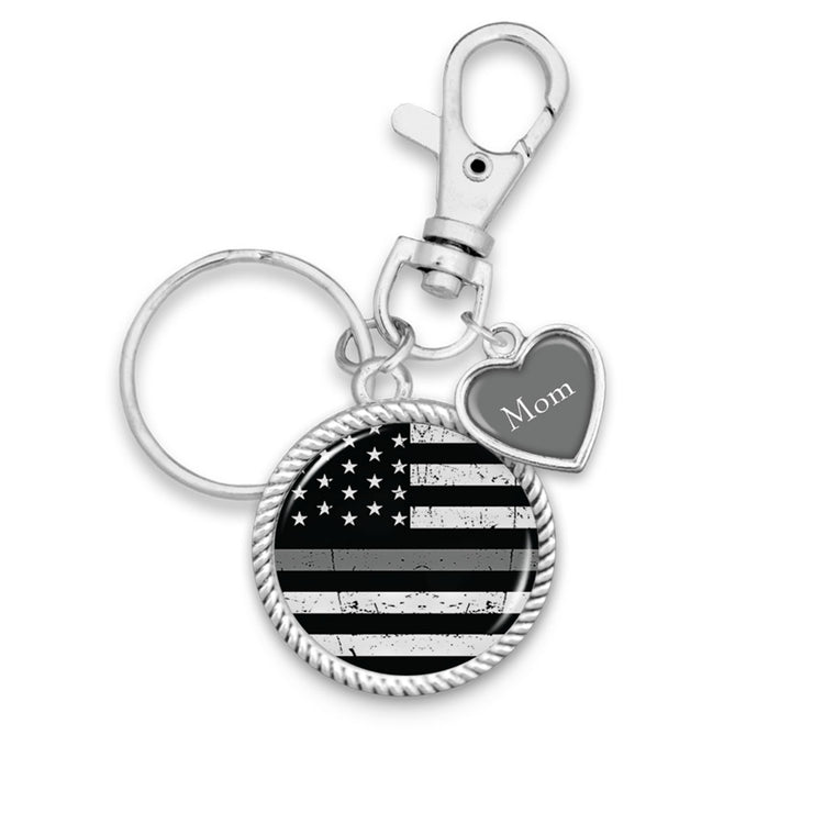 Customizable Thin Gray Line Key Chain