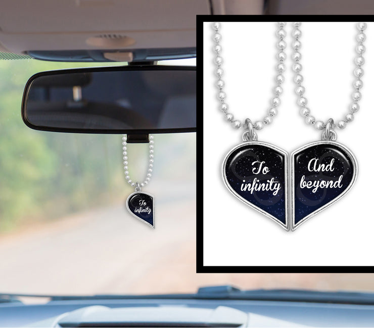 To Infinity And Beyond Heart Half Pair Rearview Mirror Charms