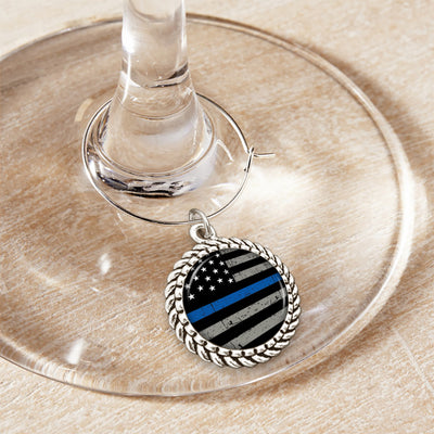 Thin Blue Line Flag Wine Glass Charm