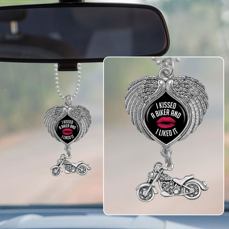 I Kissed A Biker And I Liked It Wings Rearview Mirror Charm