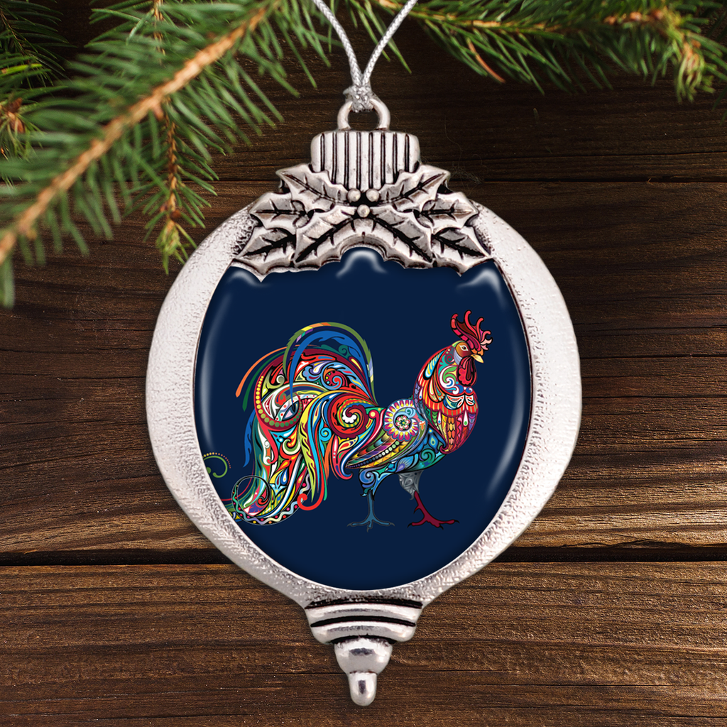 Rooster Colorful Swirl Bulb Ornament